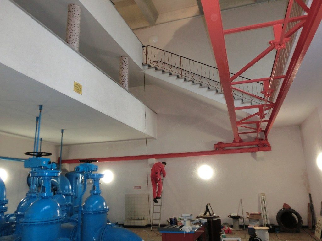 Bauwerksüberprüfung für einen Trinkwasser-Hochbehälter, Schieberkammer